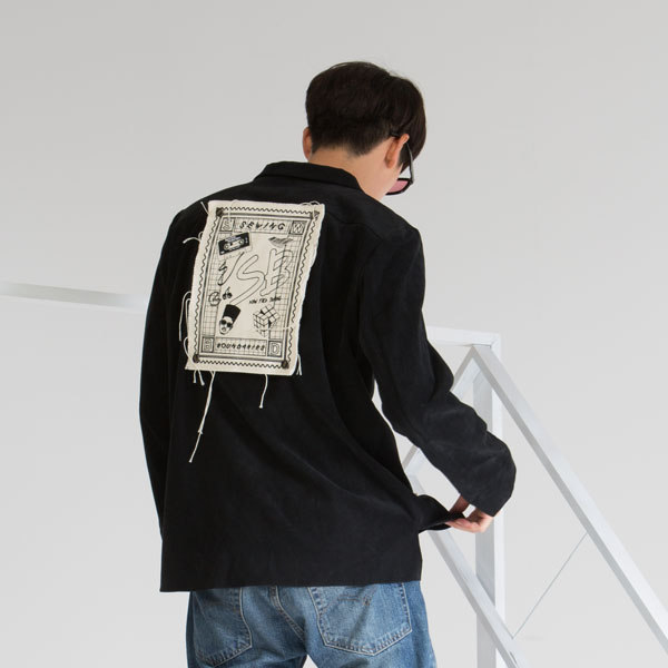 BACK PATCH CORDUROY SHIRT