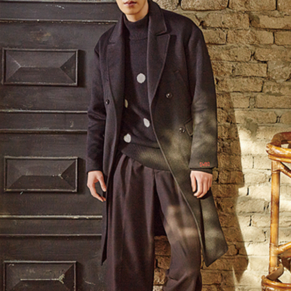 STRAIGHT FIT DOUBLE COAT(BLACK)
