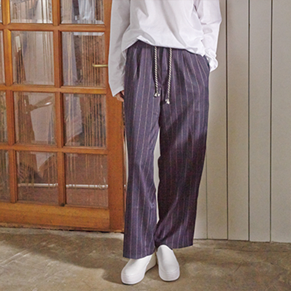 STRIPE WIDE PANTS(NAVY)