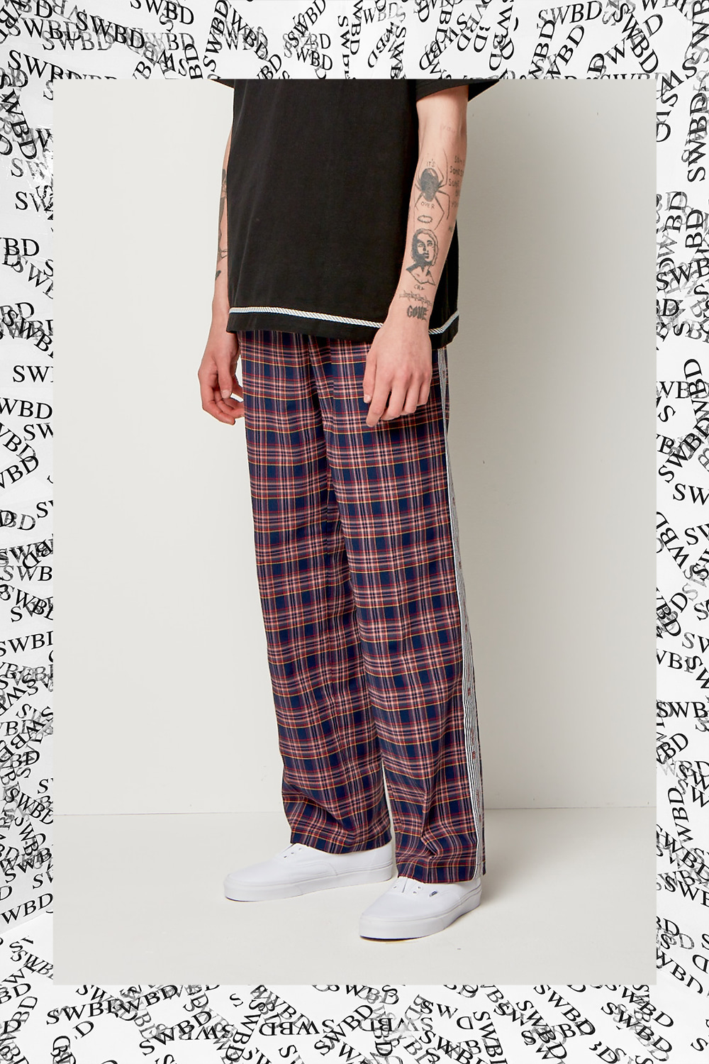 TAPE TARTAN PANTS NAVY
