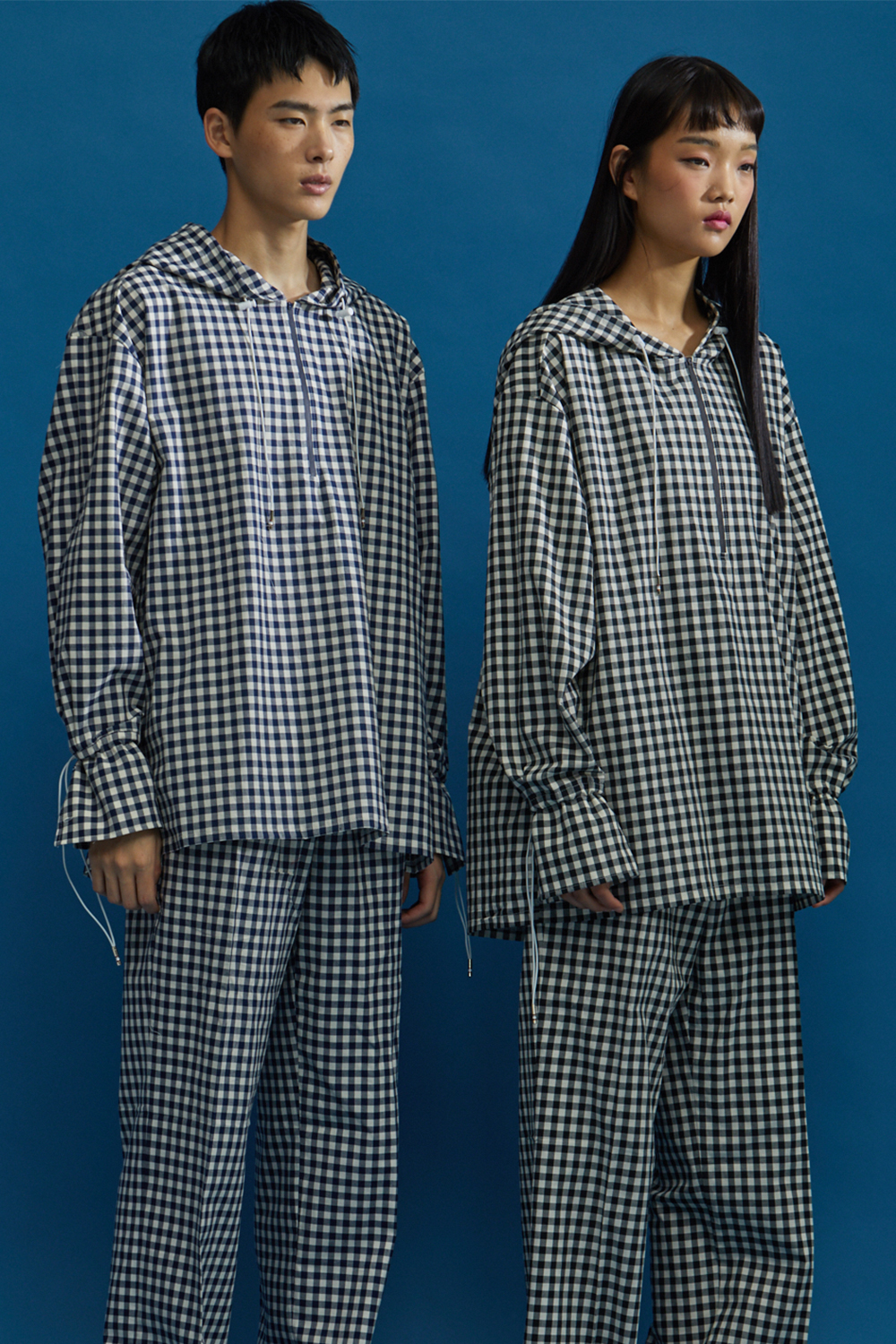 GINGHAM CHECK HOODIE SHIRT BLACK