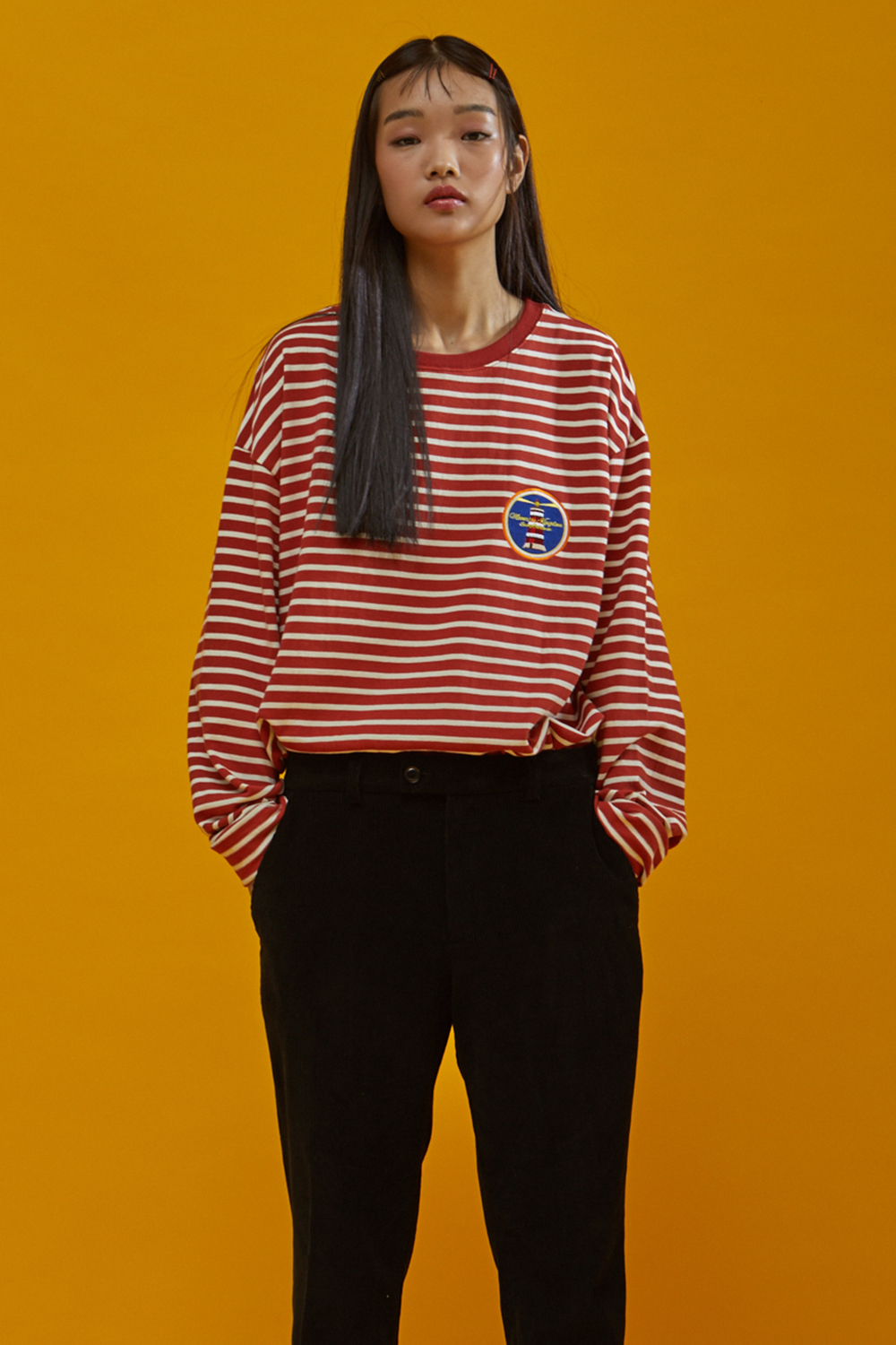 MOONRISE BASIC STRIPE LONG SLEEVES RED