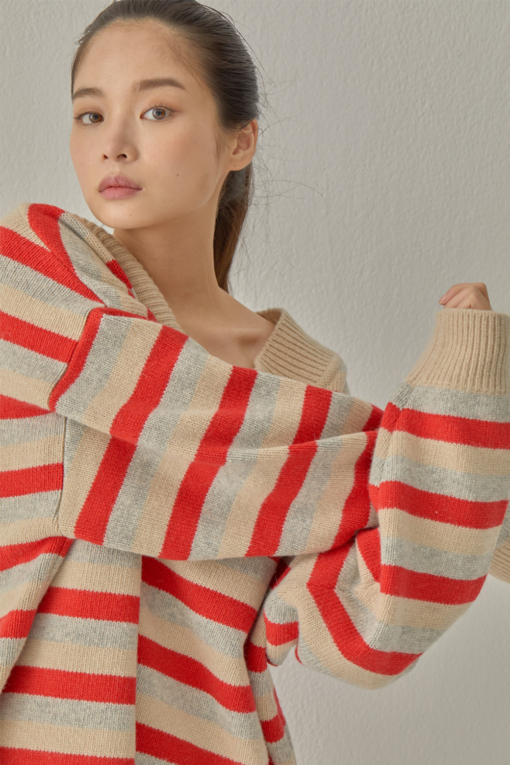 STRIPE SLIT KNIT (RED)