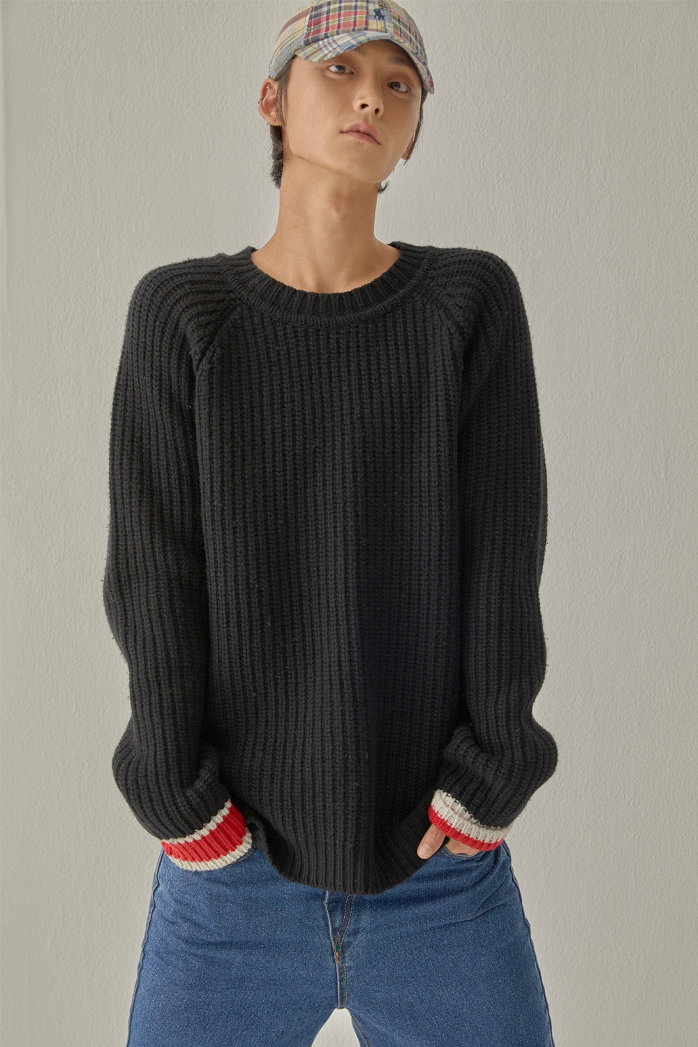 SIGNATURE COLOR BLOCK KNIT (BLACK)