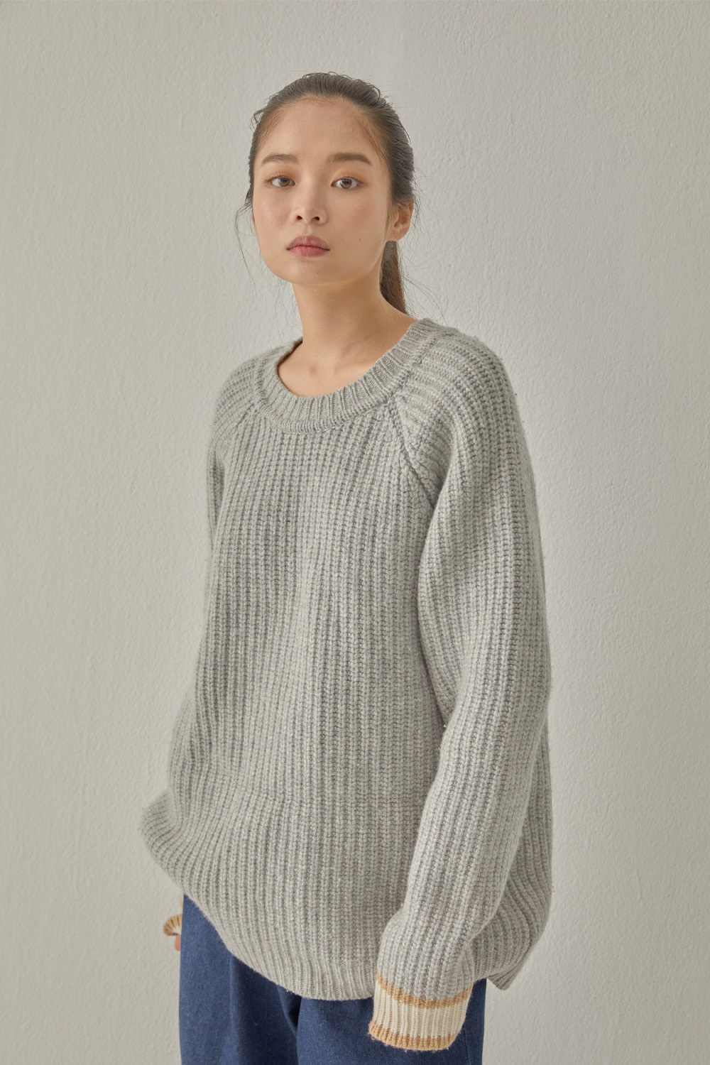 SIGNATURE COLOR BLOCK KNIT (GRAY)