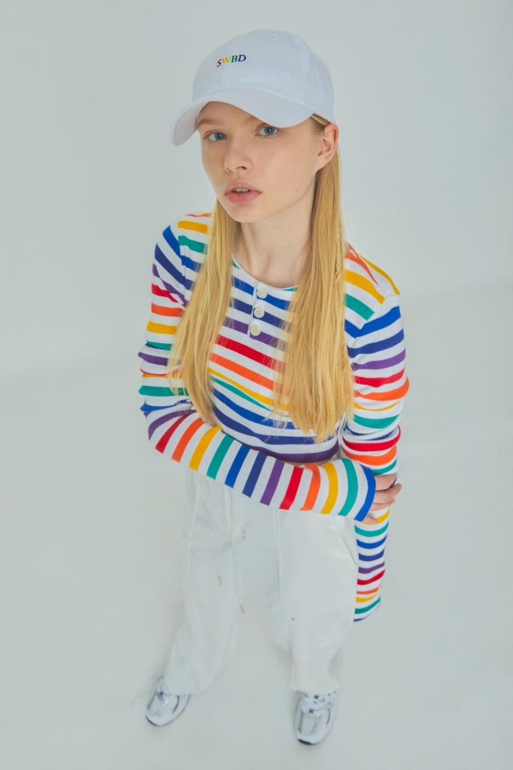RAINBOW CROP KNIT (WHITE)