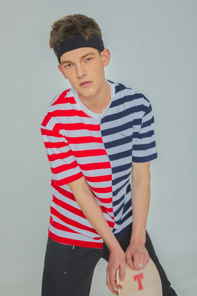 STRIPE HALF TEE (RED+NAVY)