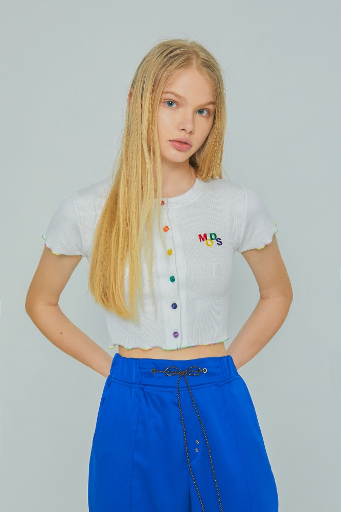 MODS CROP CARDIGAN TEE (WHITE)