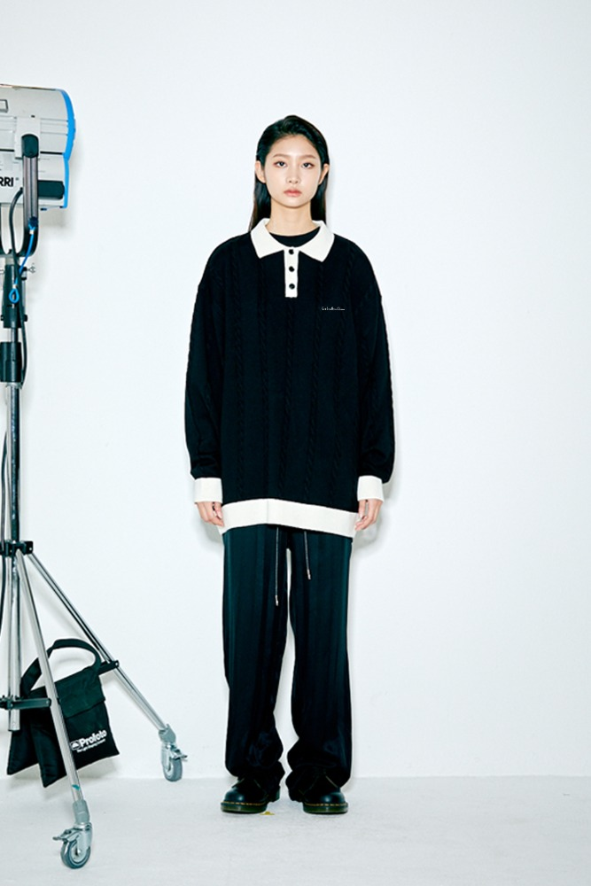 SWBD PIPING POINT COLLAR KNIT BLACK